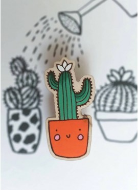 """BROOCH """"CACTUS IN A SMILING POT"""""""