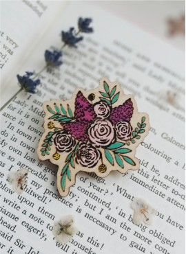 """BROOCH """"PINK BOUQUET WITH LILAC"""""""