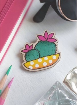 """BROOCH """"CACTUS IN A YELLOW POT"""""""