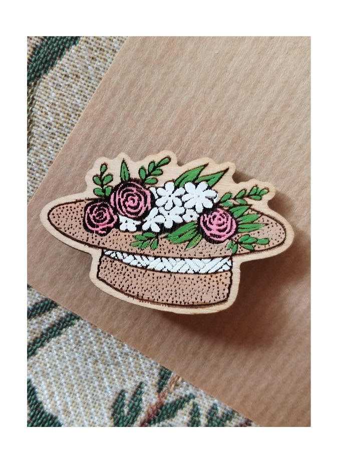 """BROOCH """"HAT WITH FLOWERS"""""""