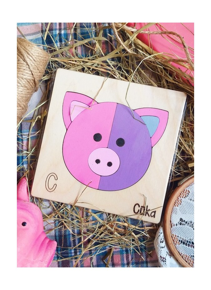 Developing wooden alphabet – puzzle «C» Cūka/ ENG- (P) Pig