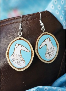 """EARRINGS  """"RUSSIAN WOLFHOUND IN BLUE"""""""