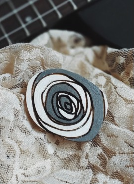 """BROOCH """"BLACK AND WHITE ROSE"""""""
